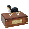 Collie Black, White & Red Figurine Wood Urn with engraved plaque