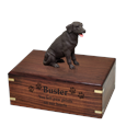 Chocolate Labrador Retriever Wood Urn with engraved front