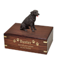 Chocolate Labrador Retriever Wood Urn with gold filled engraved front