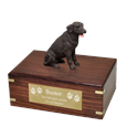 Chocolate Labrador Retriever Wood Urn with engraved plaque