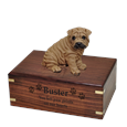 Shar Pei Brown Dog Figurine Urn with engraved front