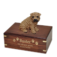 Shar Pei Brown Dog Figurine Urn with gold filled engraved front