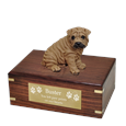 Shar Pei Brown Dog Figurine Urn with engraved plaque