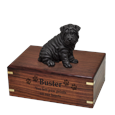 Shar Pei Black Dog Figurine Urn with engraved front