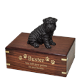 Shar Pei Black Dog Figurine Urn with gold filled engraved front