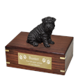 Shar Pei Black Dog Figurine Urn with engraved plaque