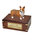 Welsh Corgi Pembroke Wood Urn with engraved plaque