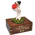 Playful Jack Russell Terrier engraved urn with gold fill