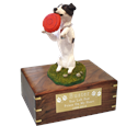 Playful Black/White Jack Russell Terrier Urn with engraved plaque