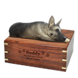German Shepherd Figurine with Engraved Wood Urn