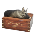 German Shepherd Figurine with Engraved Wood Urn in Gold