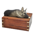 Silver and Black German Shepherd Figurine Wood Urn- Laying