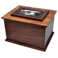 Wood Urn with Cat Photo under protective glass
