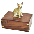 Urn shown with Chihuahua White & Ta dog figure only; no plaque or engraving