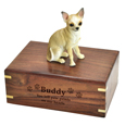 Wood engraving shown on front of Chihuahua White & Tan Figurine Wood Urn