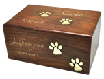 Paw Prints Wood Pet Urn engraved with gold fill