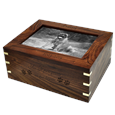 Large Wooden Box Pet Urn with Photo Window shown with black-fill engraving