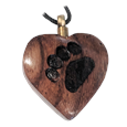 wooden heart with paw print necklace