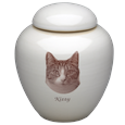 Black & White Photo Cat Urn