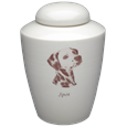 Black & White Photo Dog Urn shown with Dalmatian sample