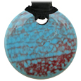 Pet Memorial Glass Urn Jewelry: Vintage Embrace Round Blue-Red