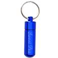 Blue pet urn keepsake keychain shown engraved with pet name