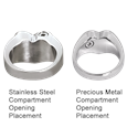 urn opening placement shown on stainless steel and precious metal rings