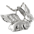 pet cremation jewelry: bunny rabbit angel urn pendant