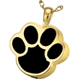 Black Inlay Paw Print Cremation Jewelry