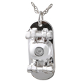Urn compartment shown on back of Skateboard pet cremation jewelry pendant