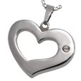 Urn opening shown on back of Affectionate Heart memorial pendant