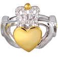Front view of Claddagh Ring pet cremation jewelry