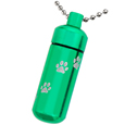 Green pet urn jewelry keychain shown with engraved pawprints and ball chain