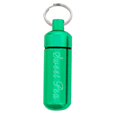 Green pet urn jewelry keychain shown engraved with pet name