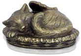 Metallic Bronze Sleeping Angel Cat Cremation Urn