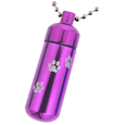 Purple pet urn jewelry shown with pawprints engraving and ball chain option
