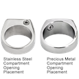 chamber location on stainless and precious metal styles