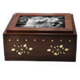 Photo Wood Pet Urn Chest front shown with cat b&w photo