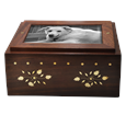 Photo Wood Pet Urn Chest front shown with b&w photo