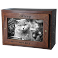 Photo Wood Pet Urn Chest top shown with cat b&w photo & engraving