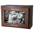 Photo Wood Cat Urn Chest shown with gold fill engraving