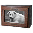 Photo Wood Pet Urn Chest top shown with b&w dog photo & engraving