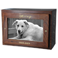 Photo Wood Dog Urn Chest shown with gold fill engraving