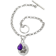 Sterling Silver Toggle Bracelet with Petite Oval Paw Print and birthstone