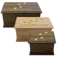 Wooden Dog Prints Urn in walnut or alder wood
