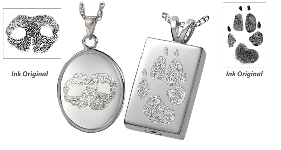 Memorial gallery pets pet urns dog urns pet cremation jewelry sterling silver pet noseprint and pawprint jewelry aloadofball Images