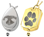 pet paw print and nose print ash holding pendants