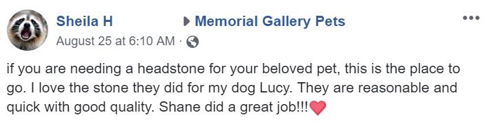 testimonial pet headstone marker