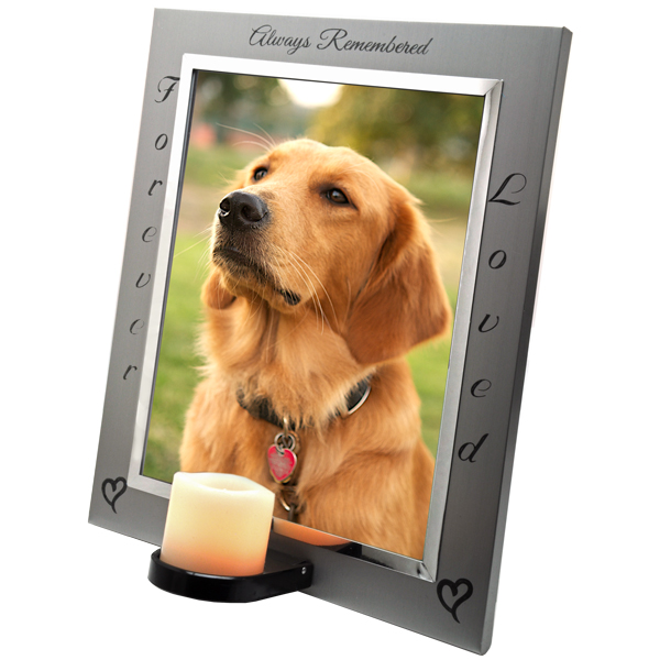 pet memorial frame eternal frame with candle side view - Dog Memorial Frame