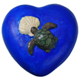 Eco-Friendly Blue Heart Pet Urn- Turtle with Shell Small